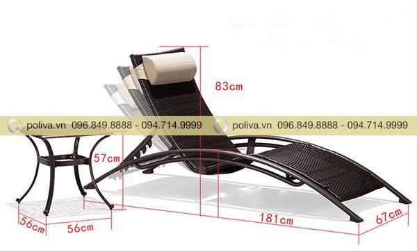 Kích thước giường tắm nắng của Poliva