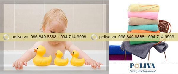 Khăn tắm do Poliva cung cấp chất lượng tốt, thân thiện với làn da nhạy cảm của trẻ em