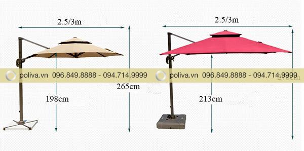 Thông số kích thước chi tiết của ô dù ngoài trời