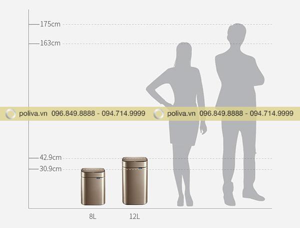Có 2 loại thùng rác là 8L và 12L