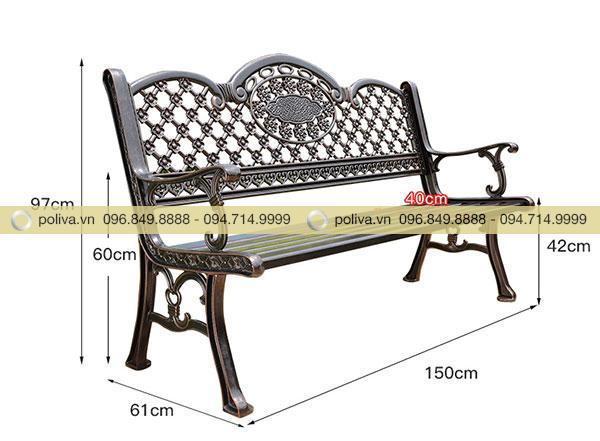 Thông số kích thước ghế sân vườn - công viên