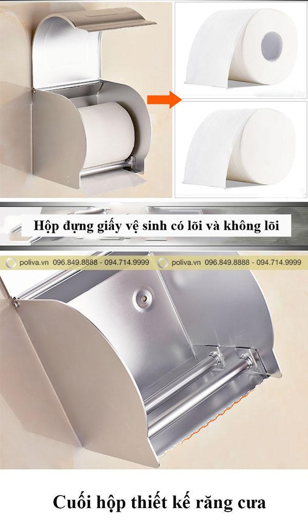 Hộp đựng giấy vệ sinh bằng inox gắn phù hợp giấy vệ sinh có lõi, không lõi