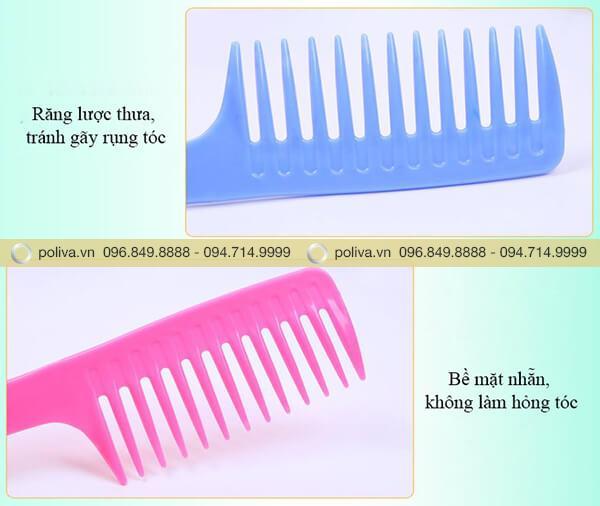 Cấu  tạo răng lược thưa, không gây đau chân tóc, dễ dàng chải tóc xoăn