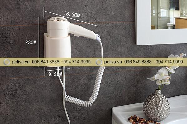 Kích thước máy sấy tóc khách sạn nhỏ gọn, thiết kế kệ đặt máy đơn giản