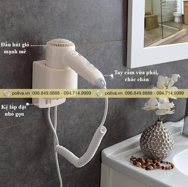 Máy sấy tóc mini gắn tường được trang bị trong phòng tắm khách sạn