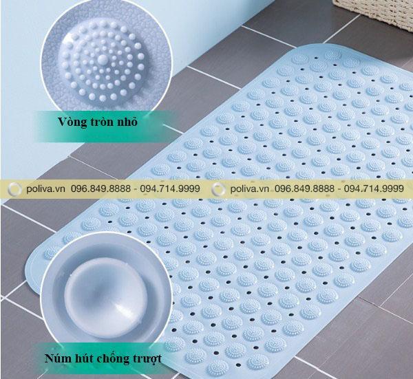 Mặt dưới của thảm chùi chân có núm hút chống trượt, đảm bảo an toàn cho người sử dụng