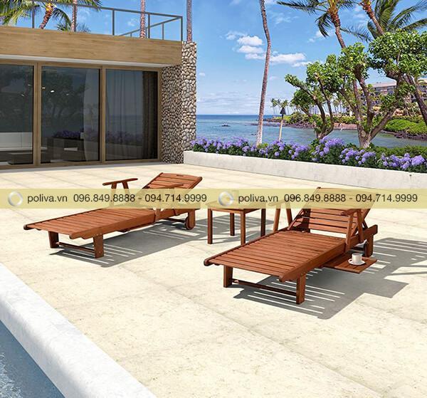 Ghế hồ bơi bằng gỗ