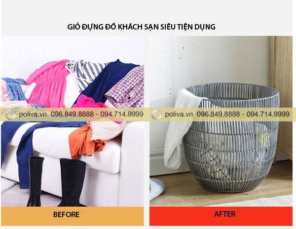 Hoặc đựng quần áo trước và sau khi giặt