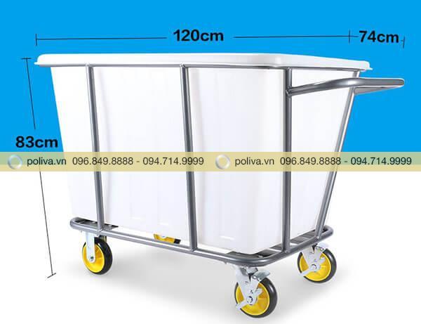 Kích thước xe đẩy đồ giặt là đa dạng