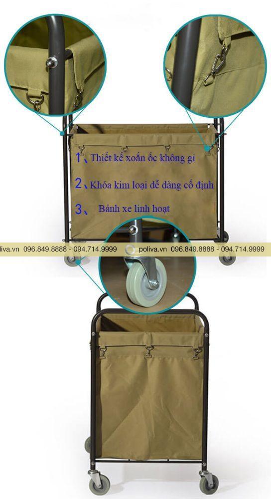 Cấu tạo các bộ phận của xe đẩy đồ vải giặt ủi khách sạn