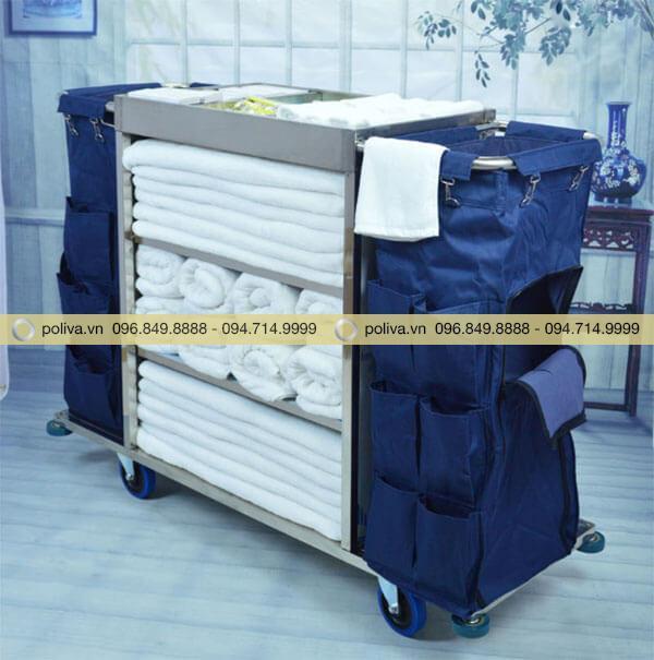 Xe làm vệ sinh buồng phòng chất liệu inox nhiều ngăn, chứa đựng nhiều đồ vải
