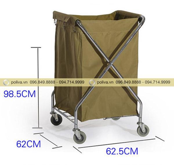 Kích thước xe thu gom đồ giặt là hình chữ X