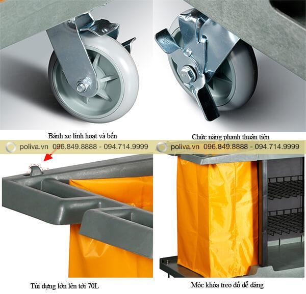Thiết kế bánh xe và túi đựng đồ bền bỉ