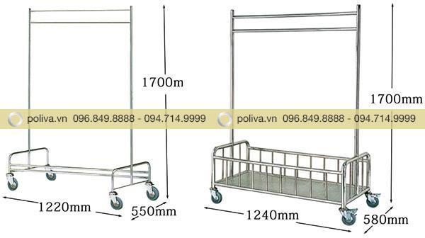 Kích thước các loại xe treo đồ giặt là dùng trong khách sạn