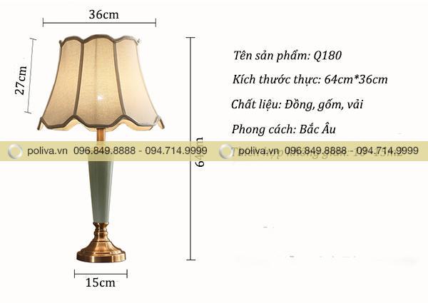 Kích thước thực của đèn ngủ để bàn