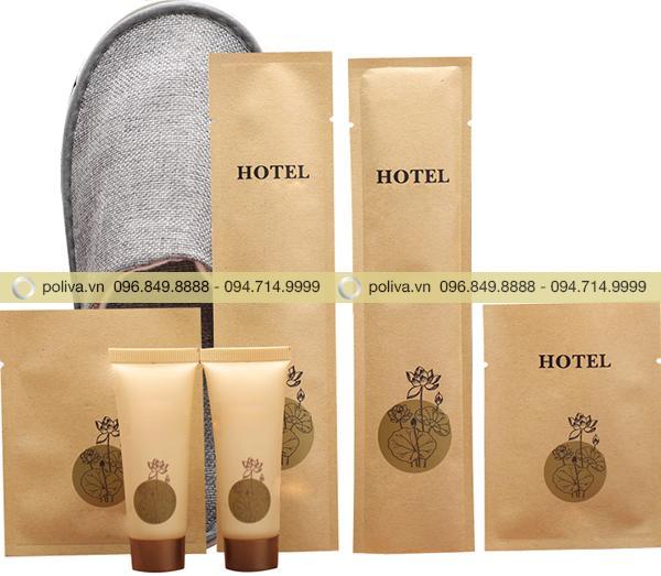 Hình ảnh trọn bộ bao bì amenities cơ bản được các khách sạn sử dụng