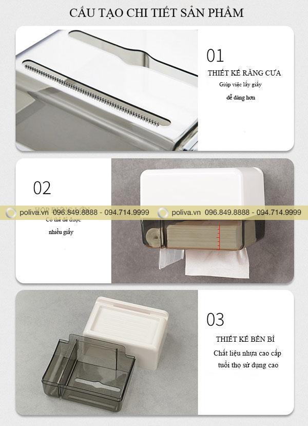 Cấu tạo thông minh của hộp đựng giấy vệ sinh dán tường