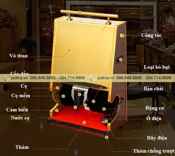 Chi tiết cấu tạo bộ phận của máy đánh giày cảm ứng