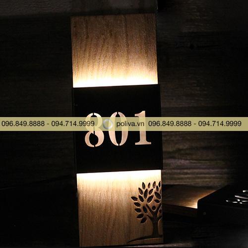 Biển số phòng gỗ đèn Led