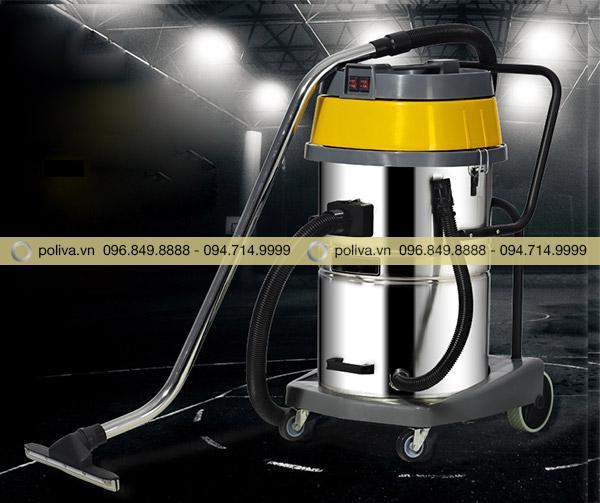 Máy hút bụi có kiểu dáng gọn nhẹ di chuyển dễ dàng nhờ bánh xe đa năng