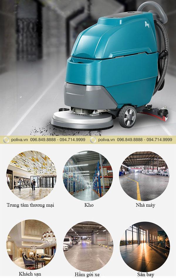 Máy chà sàn nhà xưởng được sử dụng ở nhiều nơi