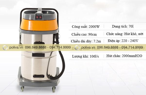 Một số thông số của sản phẩm máy hút bụi công nghiệp nhà xưởng