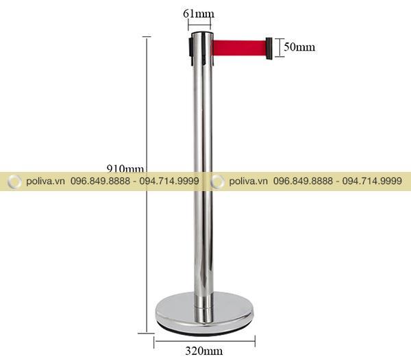 Mô tả kích thước của cột chắn inox dây căng màu đỏ