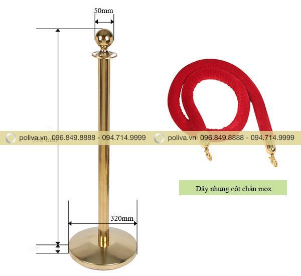Kích thước cột chắn bằng inox mạ vàng