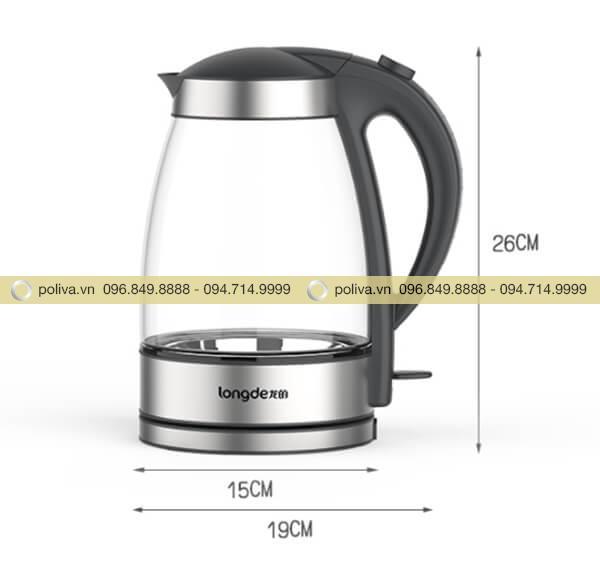 Bình đun nước siêu tốc có kích thước vừa phải, nhỏ gọn