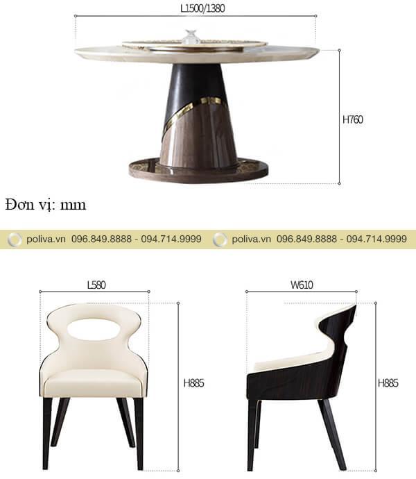 Kích thước bàn và ghế nhà hàng