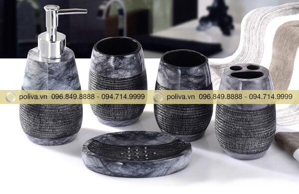 Bộ đồ dùng nhà tắm khách sạn chất liệu resin cao cấp