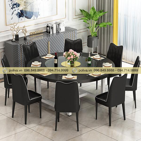Màu đen huyền bí, sang trọng của bàn, ghế nhà hàng