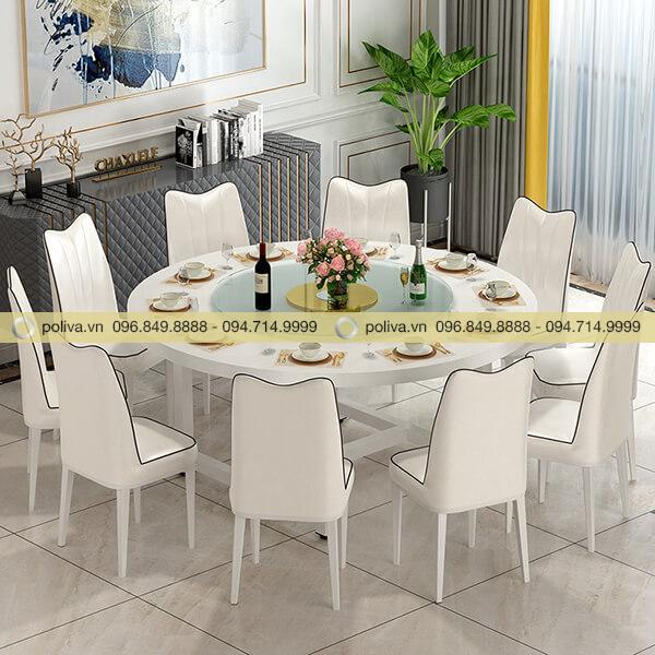 Bộ bàn ghế ăn nhà hàng màu trắng tinh tế