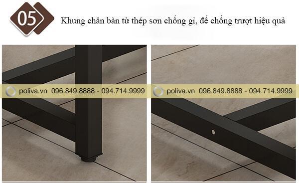 Chân bàn chắc chắn, thiết kế chống ồn, chống xước sàn nhà