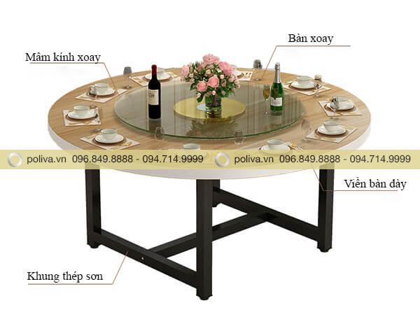 Cấu tạo bàn nhà hàng chân thép phun sơn, mặt bàn có mâm kính xoay