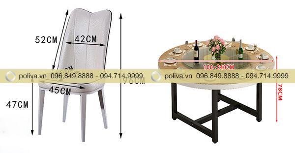 Kích thước ghế và bàn dùng trong nhà hàng, khách sạn