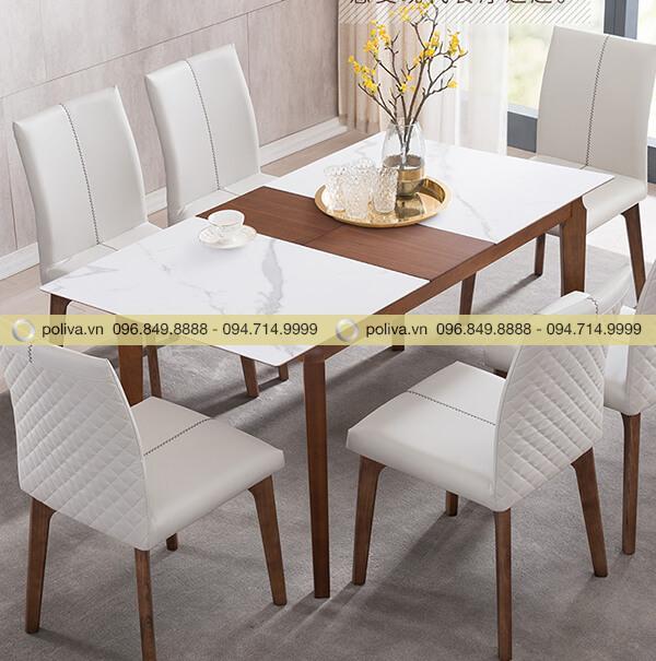 Hình ảnh mặt bàn dài với 6 ghế ngồi