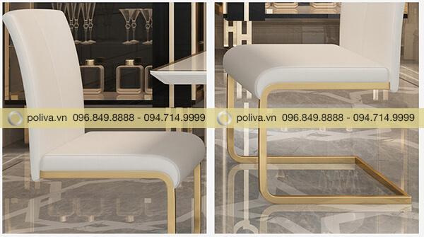 Chất liệu ghế inox 304 mạ vàng, chỗ ngồi và tựa lưng bọc da trắng cao cấp