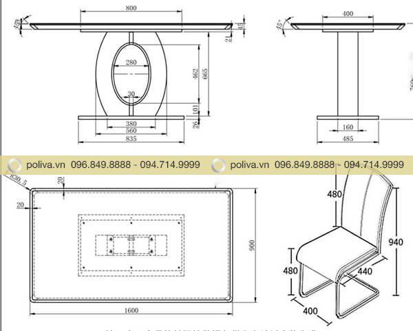 Bản vẽ chi tiết và thông số của bộ bàn ghế dùng trong nhà hàng khách sạn