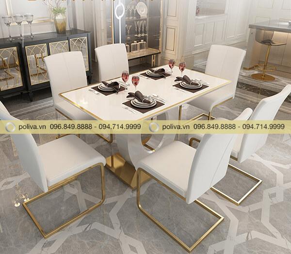 Bàn và ghế mang phong cách hiện đại với tone trắng tinh tế