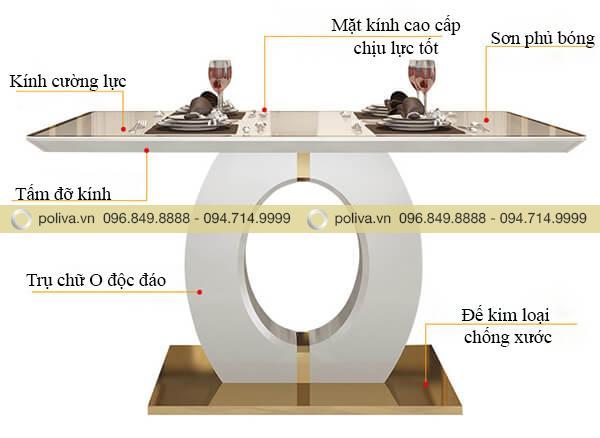 Mô tả cấu tạo chi tiết của bàn nhà hàng