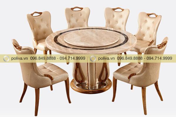 Bộ sản phẩm gồm 1 bàn tròn xoay và 6 chiếc ghế