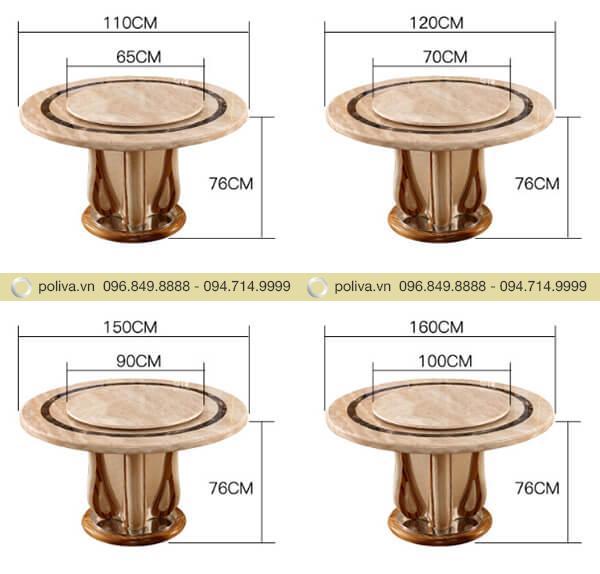 Kích thước bàn đa dạng