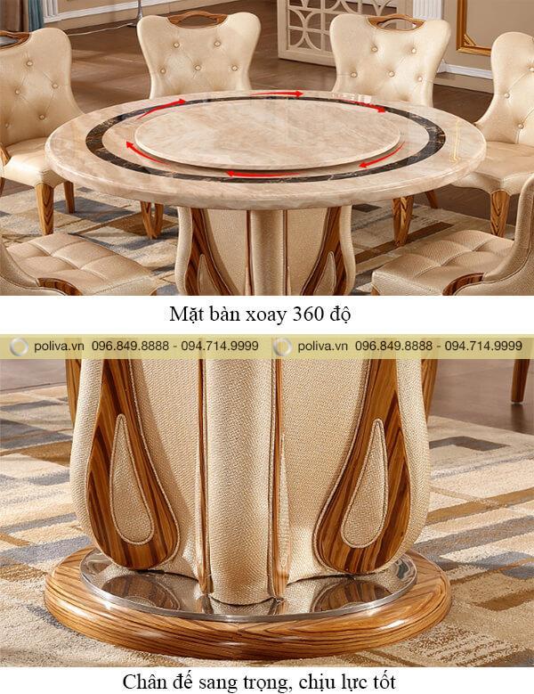 Cấu tạo mặt bàn xoay 360 độ, chân đế chịu lực tốt