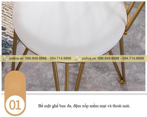 Thiết kế mặt ghế tròn bọc da