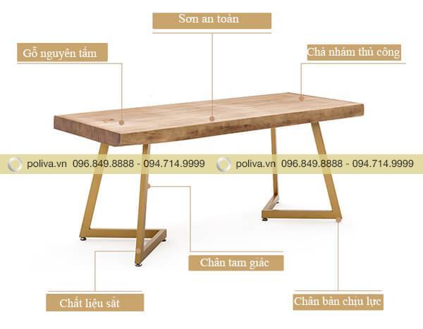 Bàn nhà hàng mặt gỗ chân sắt cao cấp