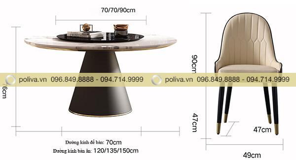 Kích thước bàn ghế nhà hàng rất đa dạng