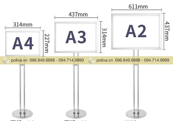 Bảng menu quảng cáo có nhiều kích cỡ khác nhau: a2, a3, a4