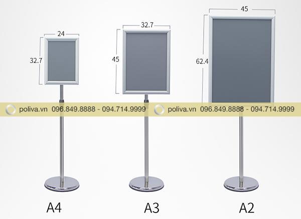 Phần bảng đặt áp phích quảng cáo sản phẩm có nhiều kích thước khác nhau