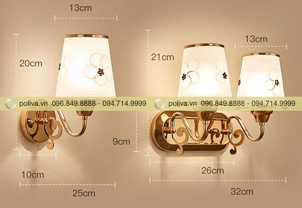 Kích thước của đèn ngủ gắn tường hình chóp nón